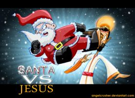 Santa Vs Jesus by AngelCrusher