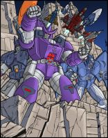 G1 Decepticon group poster 2 colors by BDixonarts