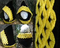 Dragon-scale Crocheted Hood, Black/Citrine by Arexandria