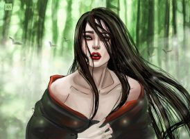 Geisha in bamboo forest by Angela-Narish
