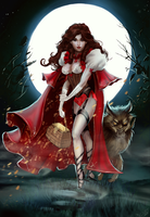 Red Riding Hood and the Big Bad Wolf (commission) by Forty-Fathoms