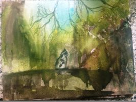 Watercolor Cat Spring by Trisquell