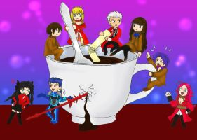 Fate/Extra: Holy Coffee Cup War by purple-mist