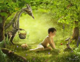 The wood dragons adoring wild strawberry by BAGIRA-blue