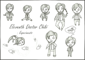 Eleventh Doctor Chibi Experiments ink by aquabluejay