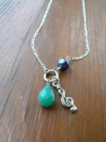 Treble Clef Necklace with Turquoise and Pearl by RSuzanne