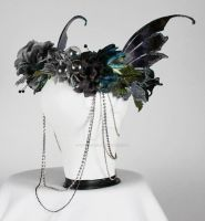Winged Headdress in Blue and Black by glittrrgrrl