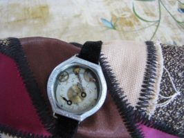 Steampunk Fabric Cuff Bracelet With Vintage Watch by bcainspirations