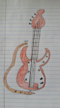Drawing of a Bass Guitar by PIZZAPIE97