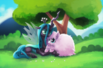 Fluffle Puff and Queen Chrysalis by TsaoShin