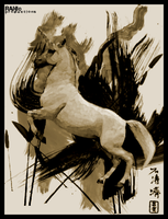 Chinese Unicorn Painting by raniproductions