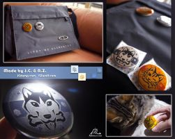 Dog and Cat Metal Colored Button SOLD OUT by J-C