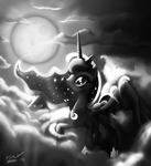 Princess Luna and the Moon by DeathKnightCommander