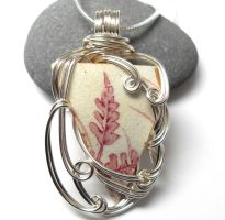 Cranberry Sea China Necklace no. 2 by sojourncuriosities