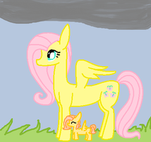 Fluttershy and Baby Daylily by LittleSnowyOwl