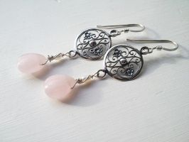 In the Garden -Rose Kiss Quartz and Tiny Pearls by QuintessentialArts