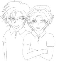 Tezuka and Atobe Lineart by Bleastvampire