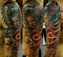 geisha sleeve wip by strangeris