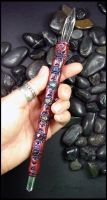 Lumerian Calling Wand - Clay and Gemstone by andromeda