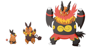 Tepig, Pignite, and Emboar by Sandstormer