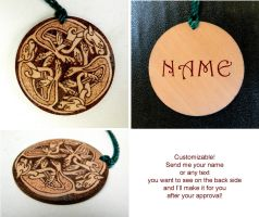 CELTIC DOGS pyrography beautiful wooden keychain by YANKA-arts-n-crafts