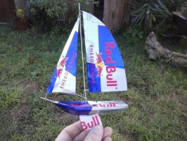 Racing Yacht made of Red Bull cans by Rooivalk1