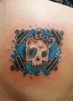Skull and Barbells Tattoo by VanZanto