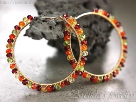 *Autumn* Gemstone hoops by Arctida