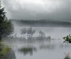 Misty Lake Premade BG Stock by feathersnchains