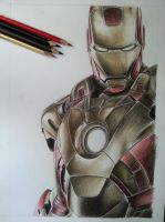 Iron man color pencil by DeadArt1
