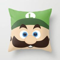 Super Mario Luigi Throw Pillow / Cover by crystaland