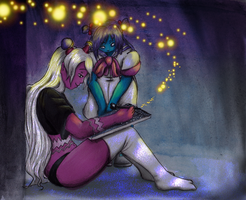I was drawing my own sky with my starry heart by Fralle-chan