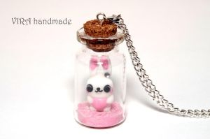 Cute bunny on ice-cream glass jar necklace by virahandmade