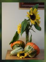 Another Gourd and Sunflower Still-Life by Artlune