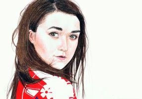 Maisie Williams - colored pencil by miemotio