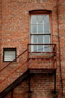 dirty fire escape by JensStockCollection