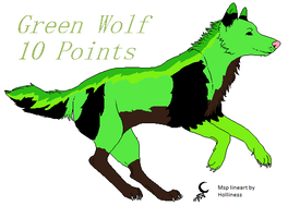 Green Wolf Adoptable: 10 Points by BlackWolf1112-ADOPTS