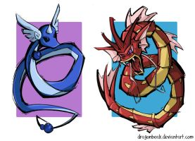 Dragonair and Gyarados by DragonBeak