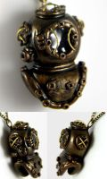 Antique Divers Helmet Necklace by NeverlandJewelry