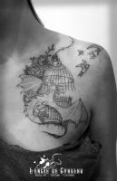 Dragon and Bird Cage - Tattoo by Pugg