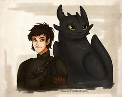 Hiccup and Toothless by 7Lisa