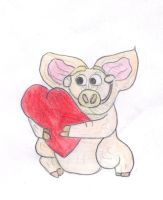 pig and heart by xbertyx