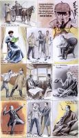 Sherlock Holmes sketchcards by whu-wei