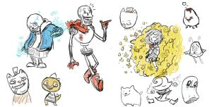 Undertale Doodles by CrazyWizBiz