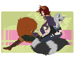 The story of a squirrel and a racoon by vannbun