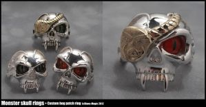 Monster skull rings by Dans-Magic