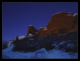 Red Rocks in the Moonlight by powowcow