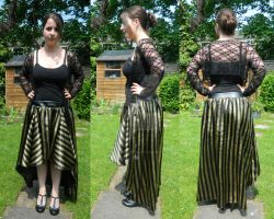 Satin and leatherette skirt by CorvusCorone93