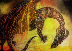 Mixed Media Beast / Magma Dragon by Angelica777