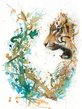 The Tiger Encounter - Painted in Ink and Tea by Carnegriff
